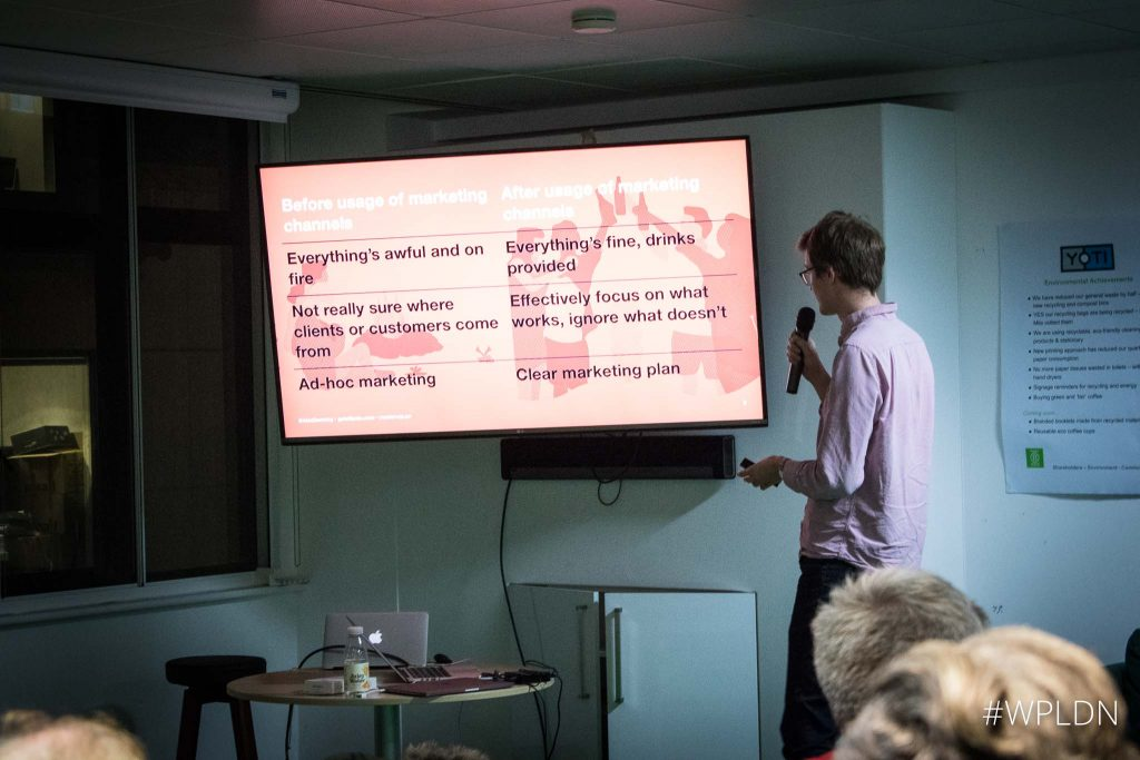 Talking about marketing channels at the WordPress London meetup last year.